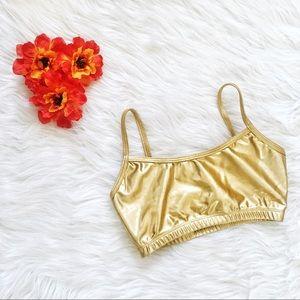 natalie dancewear metallic golden bra top